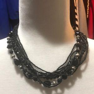 Black Multi-String Beaded Necklace